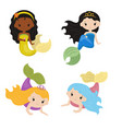 set of cute girl mermaids set of cute girl vector image