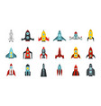 space ship icon set flat style vector image