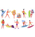 summer beach active happy young tiny people vector image vector image