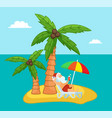 tropical exotic island with relaxing santa claus vector image vector image