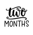 two months baby shower newborn age marker vector image