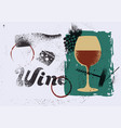 wine typographical vintage grunge poster vector image vector image