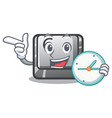 with clock button c in mascot shape vector image vector image