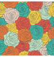 seamless pattern colorful vintage roses vector image