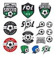 Set of soccer labels emblems and design elements vector image