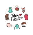 fashion doodle style circle frame with hand vector image