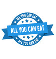 all you can eat ribbon all you can eat round blue vector image vector image