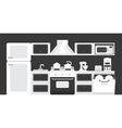 Black white color kitchen interior vector image vector image