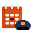 calendar reminder with police cap vector image vector image