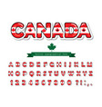 canada cartoon font canadian national flag vector image vector image