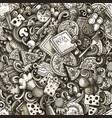 cartoon cute doodles hand drawn pizza seamless vector image vector image