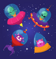 cartoon funny aliens with ufo in duck starry sky vector image vector image