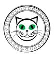 cat stamp vector image vector image