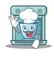 chef coffee maker character cartoon vector image vector image