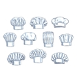 Chef toques caps and hats icons vector image vector image