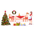 christmas dinner set woman hold tray with turkey vector image