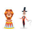 circus trainer with a whip in a red suit vector image