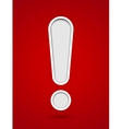 Cut out hole exclamation sign on red background vector image