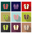 cute and colorful summer flip flops for beach vector image