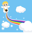 Cute angel in the sky with rainbow vector image