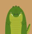 cute big fat crocodile vector image vector image