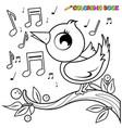 cute bird on a tree branch singing vector image vector image