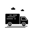 delivery truck black glyph icon vector image