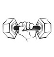 dumbbell in the hand silhouette vector image vector image