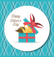 fathers day card with gift celebration vector image vector image