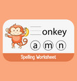 find missing letter with monkey vector image vector image