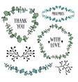 floral design set with eucalyptus leaves frames vector image