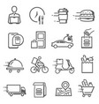 food delivery icon set transportation and vector image