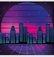 graphic city and geometric sun background vector image vector image