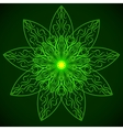 Green glowing mandala in the form of a lotus vector image