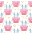 Hand drawn birthday cake seamless pattern vector image
