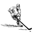 Hand sketch hockey player vector image vector image