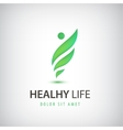 healthy life man eco leaves logo icon vector image vector image