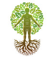 human athlete created as continuation of tree vector image vector image