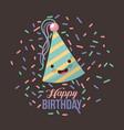 kawaii triangular happy birthday hats vector image vector image