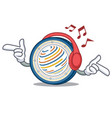 listening music factom coin mascot cartoon vector image vector image
