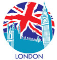 London big ben with union jack flag background vector image vector image