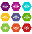 meat good food icons set 9 vector image vector image