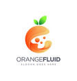 modern abstract orange fruit fluid logo vector image