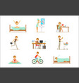 modern woman daily routine from morning to evening vector image vector image