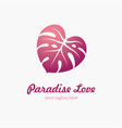 monstera leaf in a shape heart vector image vector image