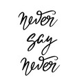 never say never hand drawn lettering isolated vector image vector image