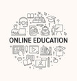 online education poster with line icons vector image vector image