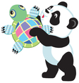 panda holding turtle toy vector image vector image