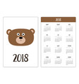 pocket calendar 2018 year week starts sunday bear vector image vector image