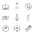 Price down icons set outline style vector image vector image